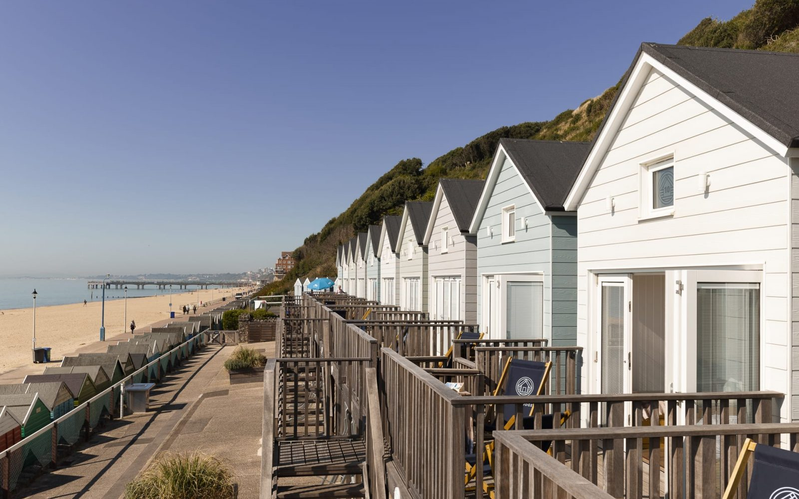 Bournemouth Beach Lodges on a sunny day