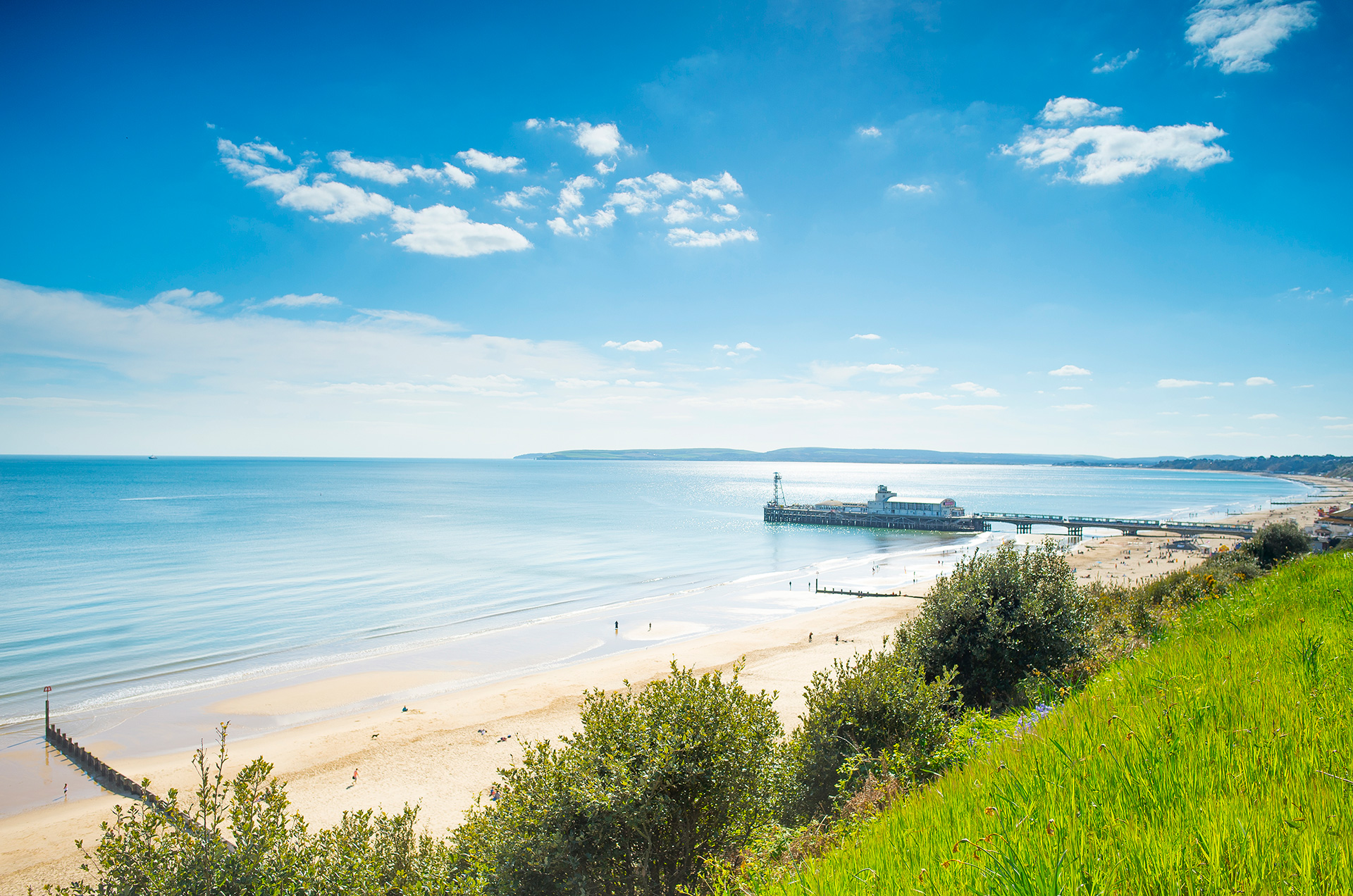 Stunning sunny day of Bournemouth seafront and pier