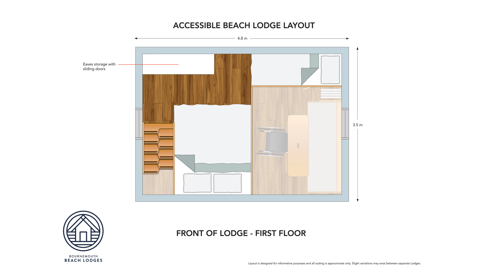 Floor plan from the inside of the disable friendly hut