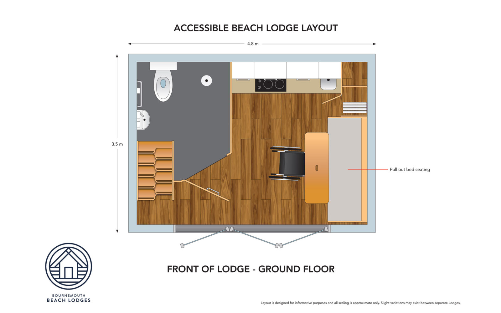 Ground floor plan from the inside of the accessible beach hut