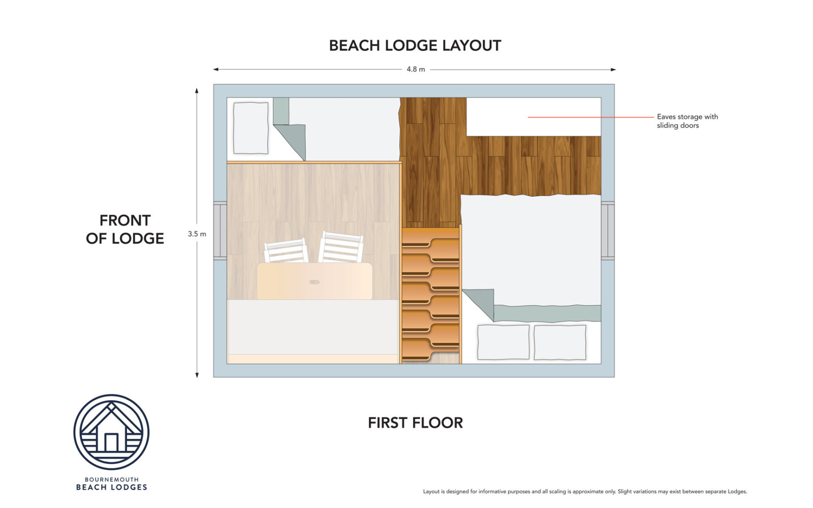 First floor plan of the beach lodges in Bournemouth
