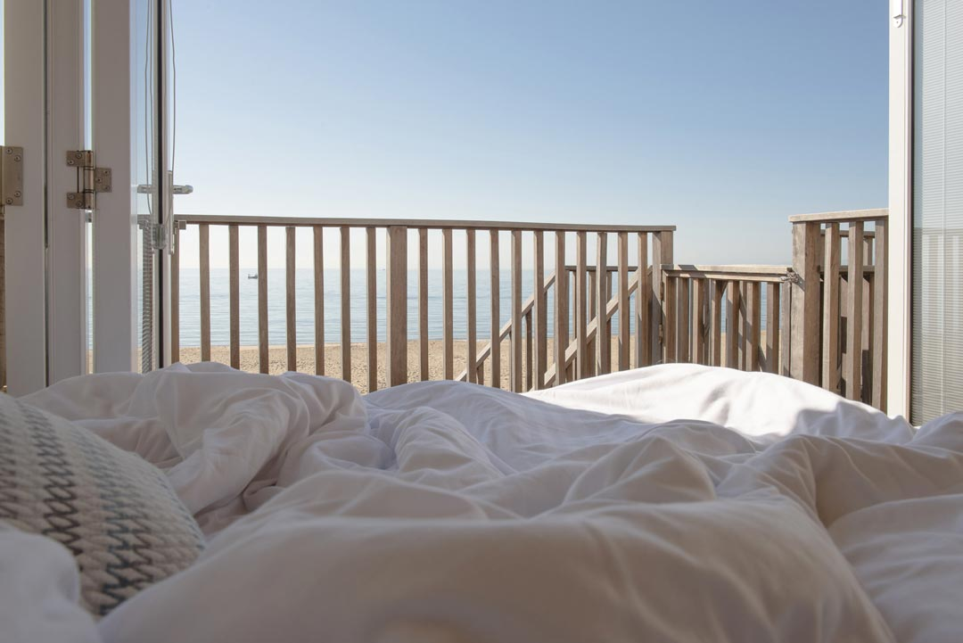 Bournemouth beachside views from a double bed at the Beach lodges