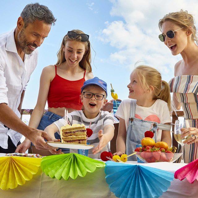 birthday celebrations on lodge terrace