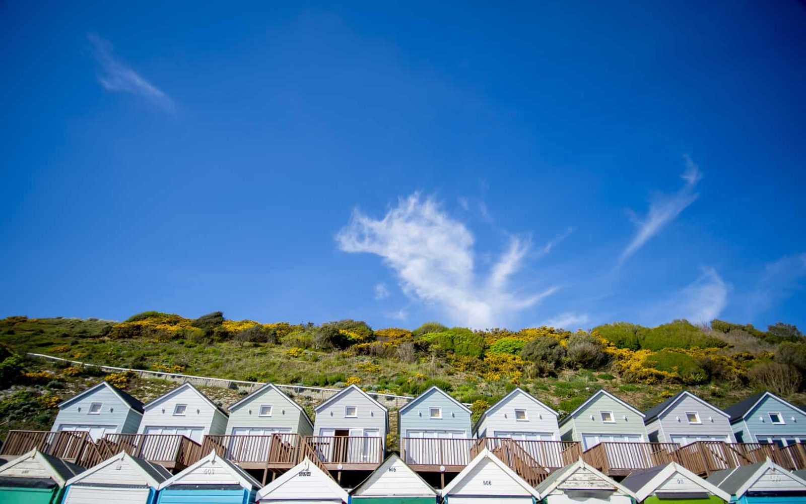 Stunning low angle shot of the Beach lodges on a clear sunny day