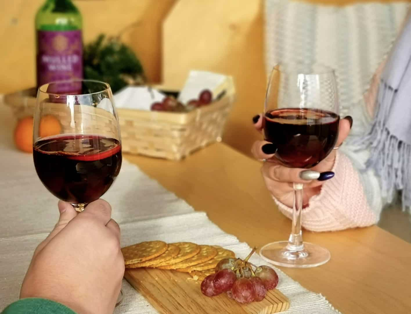 Two guests enjoying a glass of red win and a cheese board for winter